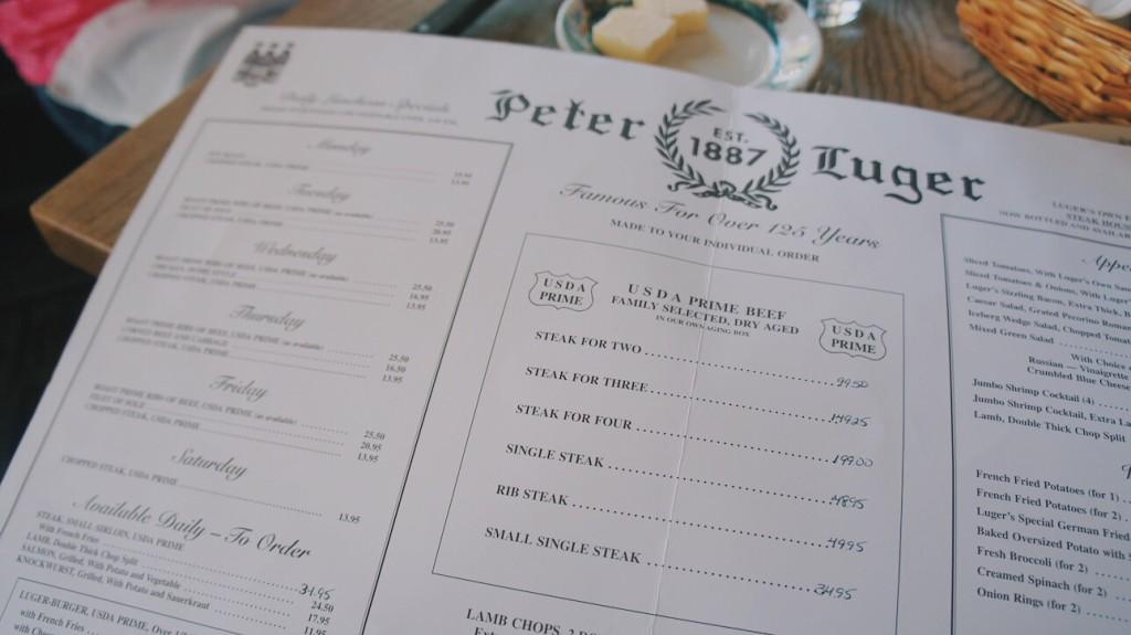 Peter Luger Steak House Menü