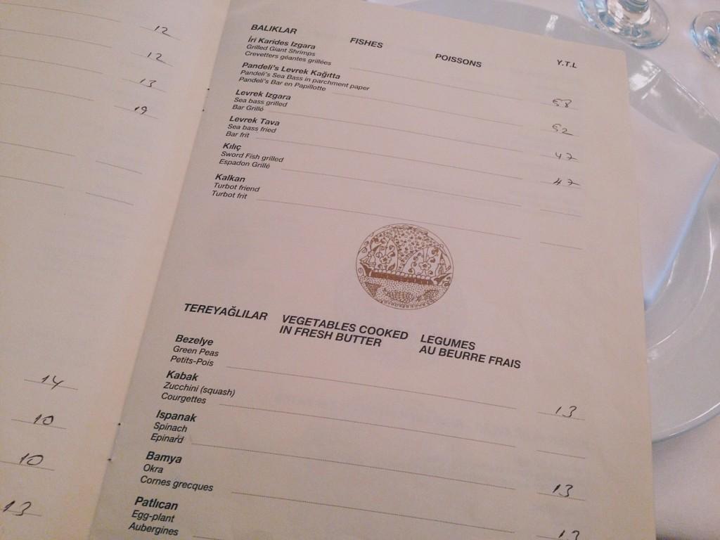 Pandeli Restaurant Menu